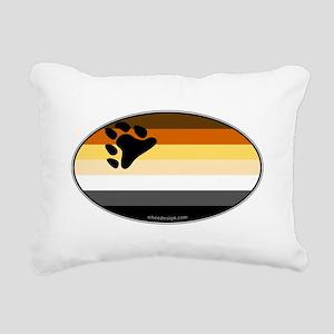 Oval Bear Pride Flag Rectangular Canvas Pillow