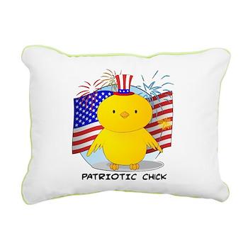 Patriotic Chick Rectangular Canvas Pillow