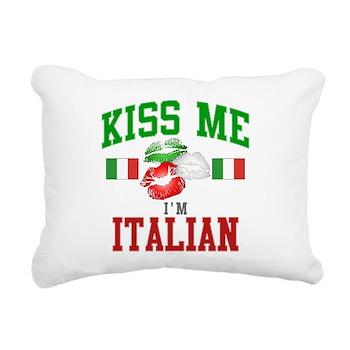 Kiss Me I'm Italian Rectangular Canvas Pillow