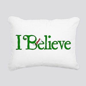I Believe with Santa Hat Rectangular Canvas Pillow