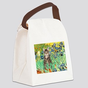 Irises / Tiger Cat Canvas Lunch Bag