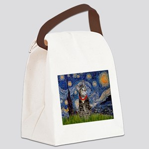 Starry Night / Tiger Cat Canvas Lunch Bag