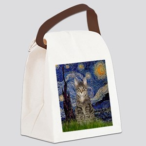 Starry Night & Tiger Cat Canvas Lunch Bag