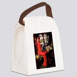 Lady / Russian Blue cat Canvas Lunch Bag