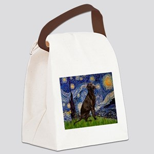 Starry Chocolate Lab Canvas Lunch Bag