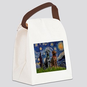 Starry / 2 Labradors (Blk+C) Canvas Lunch Bag