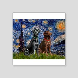 "Starry / 2 Labradors (Blk+C) Square Sticker 3"" x 3"