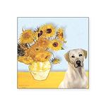 Sunflowers-Yellow Lab 7 Square Sticker 3
