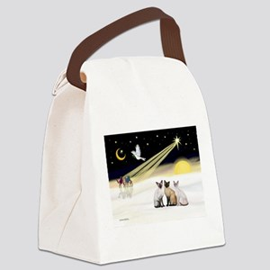 XmasDove-3 Siamese cats Canvas Lunch Bag