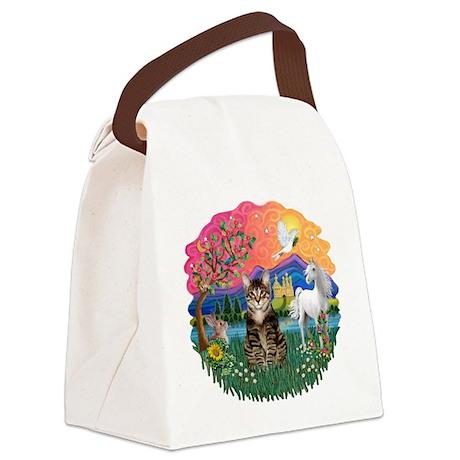 Fantasy Land/Tabby Tiger Cat Canvas Lunch Bag