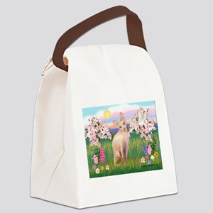 Spring Blossoms & Sphynx Cat Canvas Lunch Bag