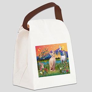 3-TILE-Fantasy-Sphynx1 Canvas Lunch Bag