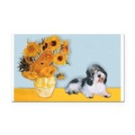 Sunflowers/PBGV Rectangle Car Magnet