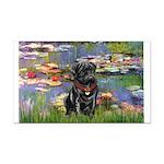 Lilies (#2) & Black Pug Rectangle Car Magnet