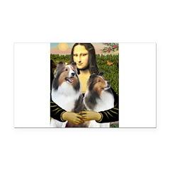 Mona Lisa / 2 Shelties (DL) Rectangle Car Magnet