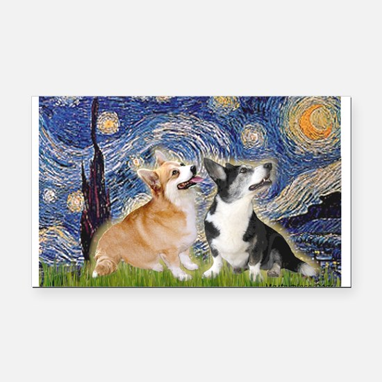 Starry Night / Corgi pair Rectangle Car Magnet