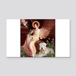 Seated Angel & Wheaten Rectangle Car Magnet