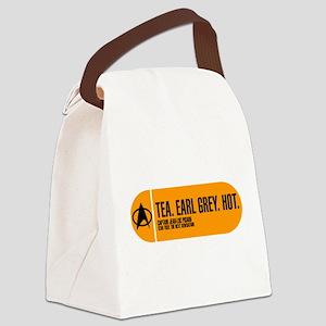 Tea. Earl Grey. Hot. Canvas Lunch Bag