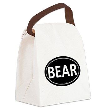 BEAR Black Euro Oval Canvas Lunch Bag