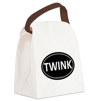 TWINK Black Euro Oval Canvas Lunch Bag