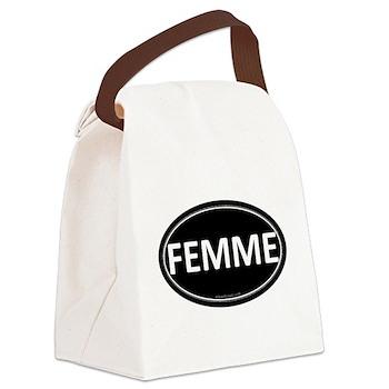 FEMME Black Euro Oval Canvas Lunch Bag