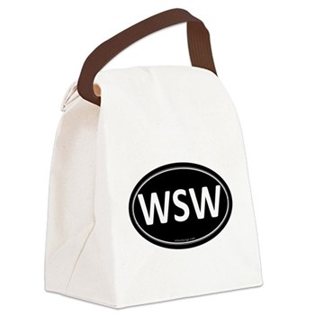 WSW Black Euro Oval Canvas Lunch Bag