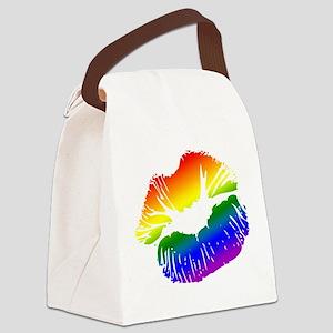 Big Rainbow Lips Canvas Lunch Bag