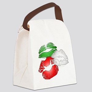 Italian Kissing Lips Canvas Lunch Bag
