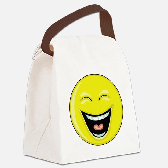 """Smiley Face - """"LOL"""" Laughing Canvas Lunch Bag"""