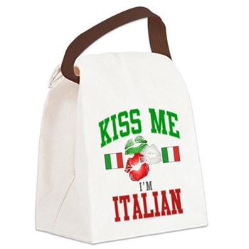 Kiss Me I'm Italian Canvas Lunch Bag