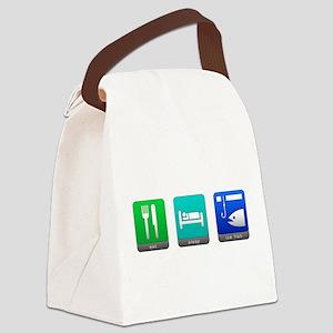 Eat, Sleep, Ice Fish Canvas Lunch Bag