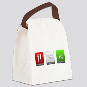 Eat, Sleep, Christmas Canvas Lunch Bag