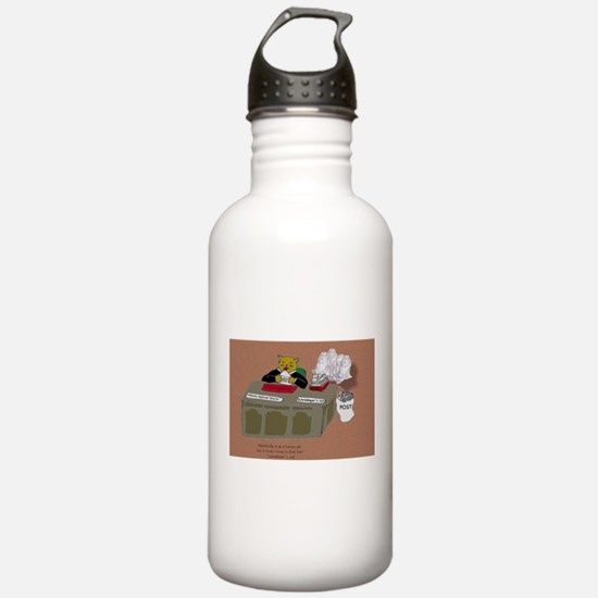 Schrödinger cat's OTHER job Sports Water Bottle