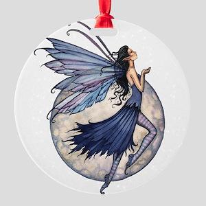 Midnight Blue Fairy Fantasy Art Round Ornament