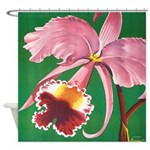 Vintage Tropical Pink Orchid Shower Curtain