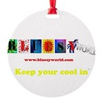 bluesyworldbumpersticker5 Round Ornament