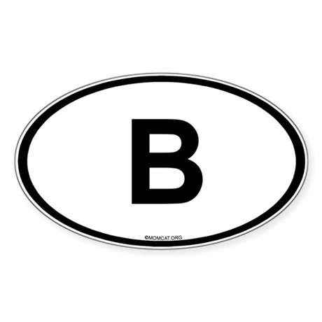 Int'l Country Code Oval Sticker: Belgium (B)