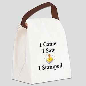 I Came I Saw I Stamped Canvas Lunch Bag