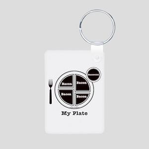 Bacon My Plate Aluminum Photo Keychain