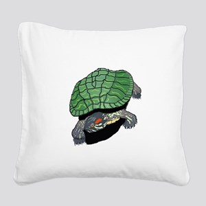 Powered By Turtles Square Canvas Pillow