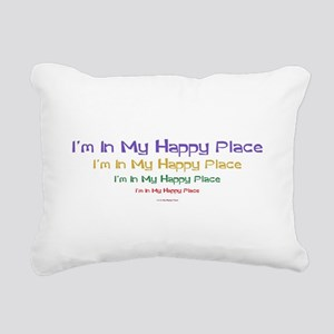 Happy Place black Rectangular Canvas Pillow