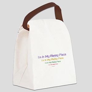 Happy Place black Canvas Lunch Bag