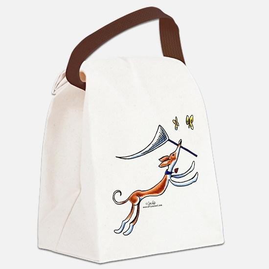 Ibizan Hound Butterflies Canvas Lunch Bag