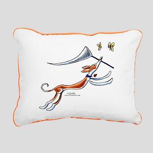 Ibizan Hound Butterflies Rectangular Canvas Pillow