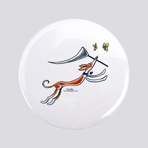 """Ibizan Hound Butterflies 3.5"""" Button"""