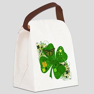 Fancy Irish 4 leaf Clover Canvas Lunch Bag