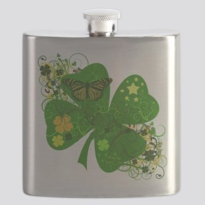 Fancy Irish 4 leaf Clover Flask