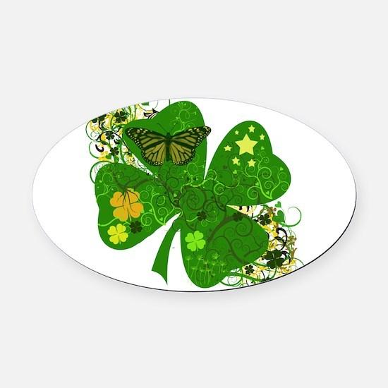 Fancy Irish 4 leaf Clover Oval Car Magnet
