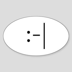 Deadpan Smiley Oval Sticker