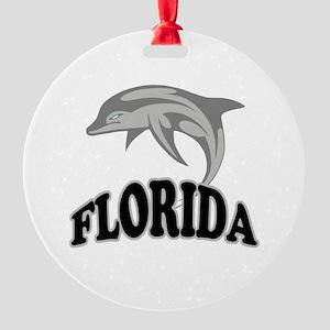 Florida Dolphin Round Ornament